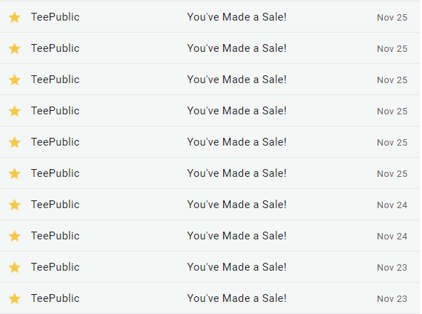 TeePublic November sales