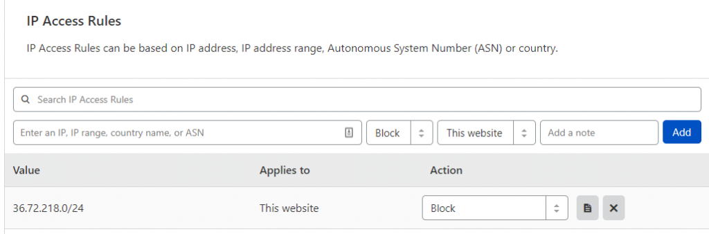 Block a range of IP Addresses in Cloudflare